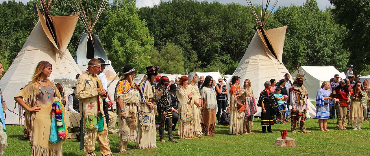 A Pow Wow of locals and indians