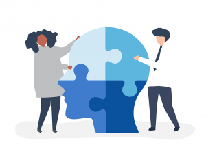 Graphic cartoon showing a human head in the middle of two people.