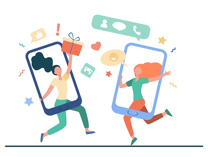 Graphic of two cellphones with people in each